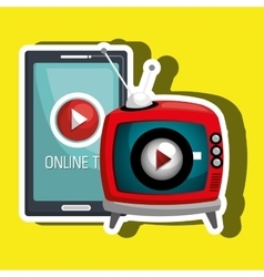 Online tv isolated icon design vector