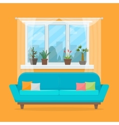 Sofa with pillows and window vector