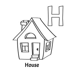 alphabet letter h coloring page house vector image