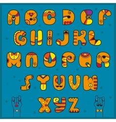 Alphabet with indian style funny orange font vector