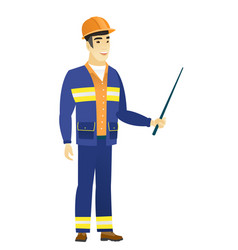 Asian builder holding pointer stick vector
