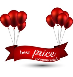 Best price red ribbon background with balloons vector