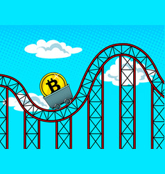 bitcoin fluctuations pop art vector image