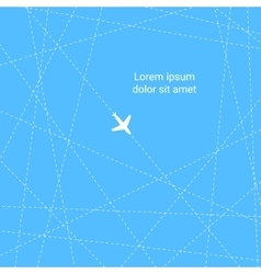 Blue and white flying plane in the sky vector
