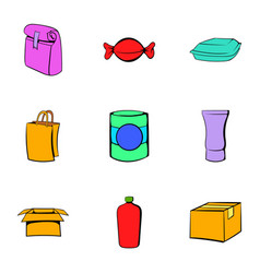 Box icons set cartoon style vector