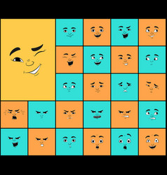 Cartoon faces expressions set vector