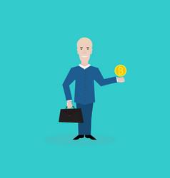 cartoon happy businessman with bitcoin on hand vector image vector image