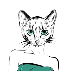 cat girl dressed up in party dress animal vector image vector image