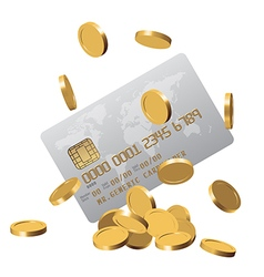 Chipped credit card and a bunch of golden coins vector image