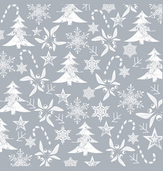 christmas pattern white silhouets on a grey vector image vector image