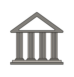 color silhouette cartoon skecth parthenon vector image