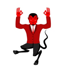 Devil does yoga red demon in lotus position happy vector