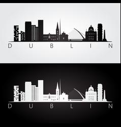 dublin skyline and landmarks silhouette vector image