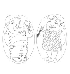 fat man and woman eating ice cream and carrots vector image vector image