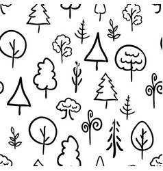 Hand-drawn trees on white retro seamless pattern vector
