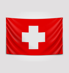 Hanging flag of switzerland swiss confederation vector