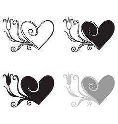 heart tulip set vector image vector image