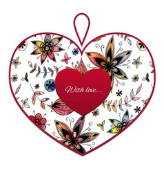 Heart with flower pattern vector image vector image