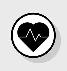Heartbeat sign flat black vector