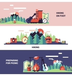 Hiking and picnic horizontal banners vector