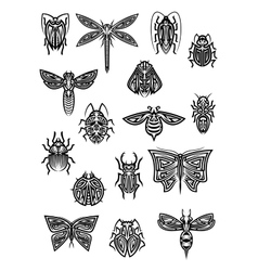 Insect animals tattoos and symbols vector