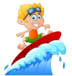 Kids play surfing on surfboard over big wave vector image vector image