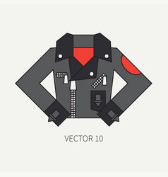 Line flat color icon wear - leather jackets vector