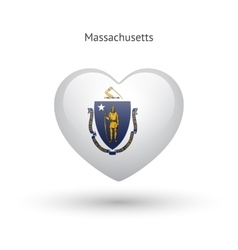 Love massachusetts state symbol heart flag icon vector