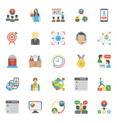 Pack of project management flat icons vector