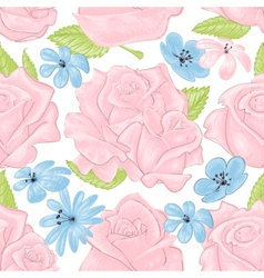 Pink roses seamless pattern over white vector image vector image