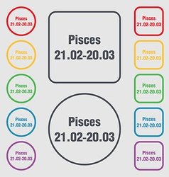 Pisces zodiac sign icon sign symbol on the Round vector image