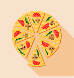 pizza with mushrooms and cherry tomatoes icon vector image
