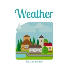 Rainy weather in town vector image vector image