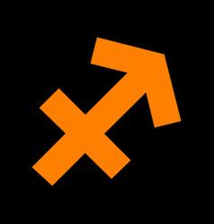 Sagittarius sign orange icon on vector