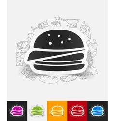 Sandwich paper sticker with hand drawn elements vector