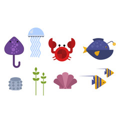 sea animals marine life character vector image