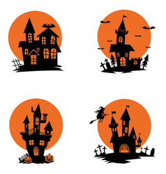 set of ghost houses halloween theme design vector image
