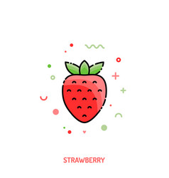 Strawberry linear icon vector