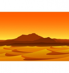 Sunset in desert vector