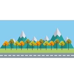 trees forest field landscape vector image