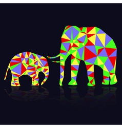 Two colorful abstract elephants from triangles vector
