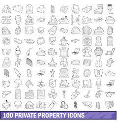 100 private property icons set outline style vector
