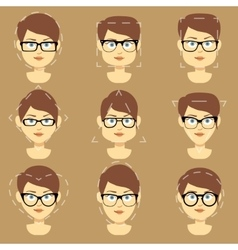 Different glasses shapes suitable for women faces vector
