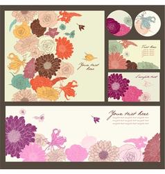 Set flowers card vector image