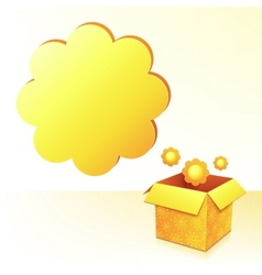 Yellow sunflowers box with text bubble vector