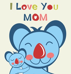 Love u mom koala vector