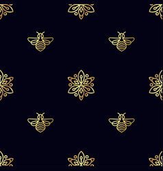 Seamless pattern with gold bee vector
