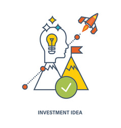Concept of investment idea and creative process vector