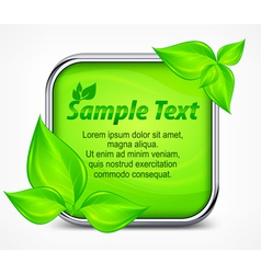 Green square icon with leaves vector