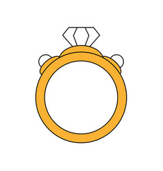 Color silhouette image diamond engagement ring vector
